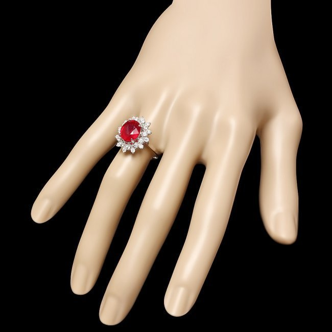 14k White Gold 4.00ct Ruby 0.70ct Diamond Ring - 3