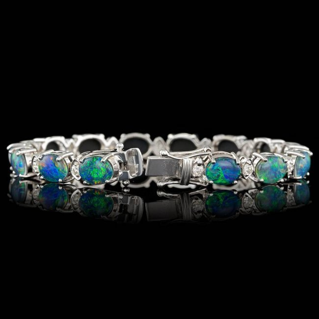 18k Gold 17.50ct Opal 1.10ct Diamond Bracelet - 2