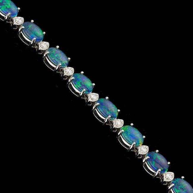 18k Gold 17.50ct Opal 1.10ct Diamond Bracelet - 5