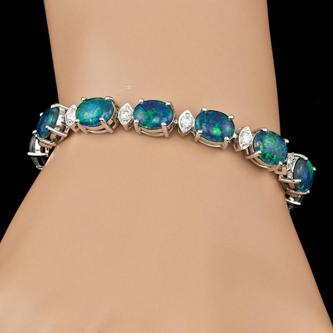 18k Gold 17.50ct Opal 1.10ct Diamond Bracelet - 6