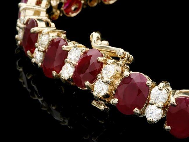 14k Gold 24.50ct Ruby 3.80ct Diamond Bracelet - 2