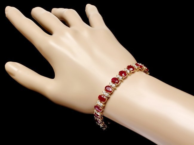 14k Gold 24.50ct Ruby 3.80ct Diamond Bracelet - 4