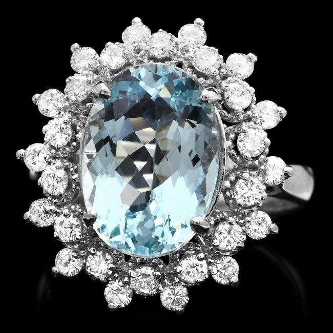 14k Gold 4.35ct Aquamarine 0.77ct Diamond Ring