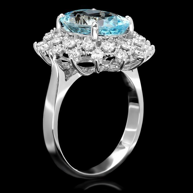 14k Gold 4.35ct Aquamarine 0.77ct Diamond Ring - 2