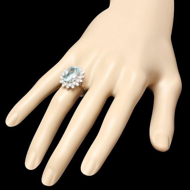 14k Gold 4.35ct Aquamarine 0.77ct Diamond Ring - 3