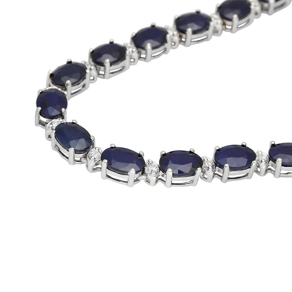 14K Gold 43.10ct Sapphire 1.51ct Diamond Necklace - 2