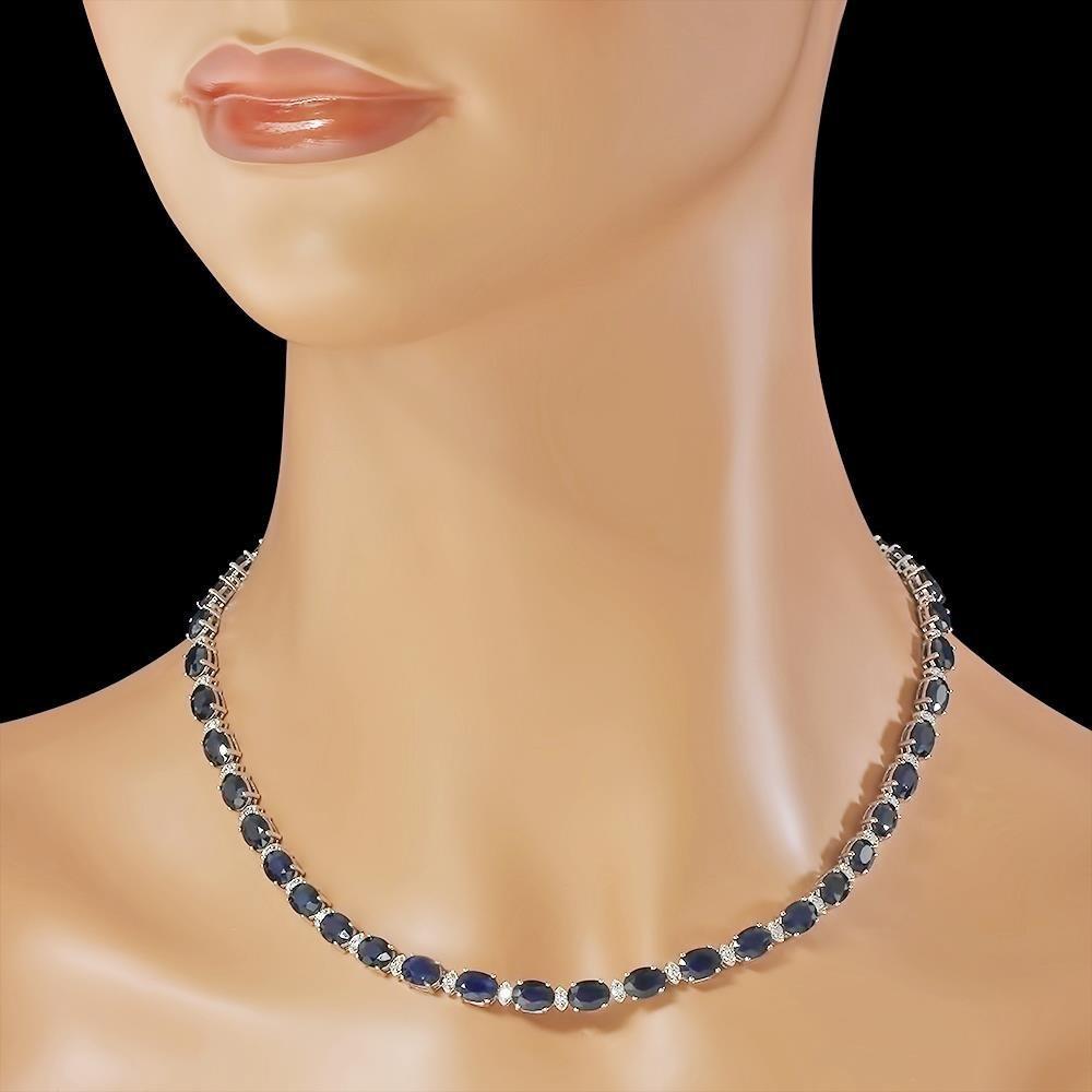 14K Gold 43.10ct Sapphire 1.51ct Diamond Necklace - 3