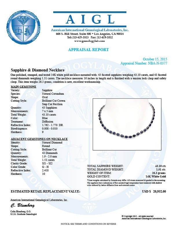 14K Gold 43.10ct Sapphire 1.51ct Diamond Necklace - 5