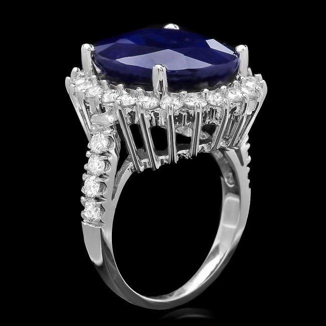 14k Gold 14.20ct Sapphire 1.59ct Diamond Ring - 2