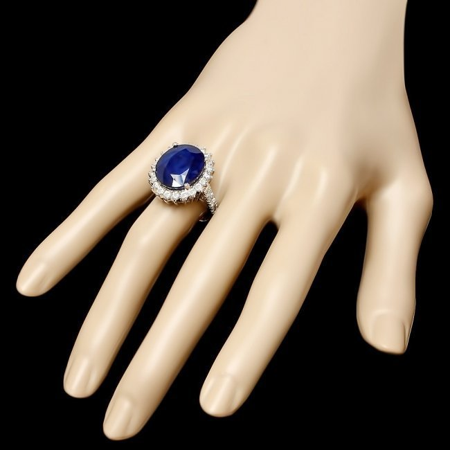 14k Gold 14.20ct Sapphire 1.59ct Diamond Ring - 3