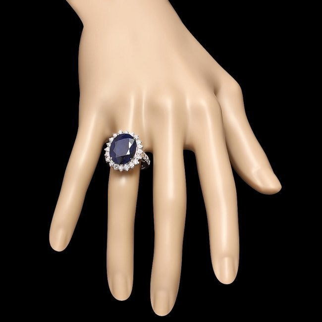 14k Gold 12.50ct Sapphire 1.60ct Diamond Ring - 4