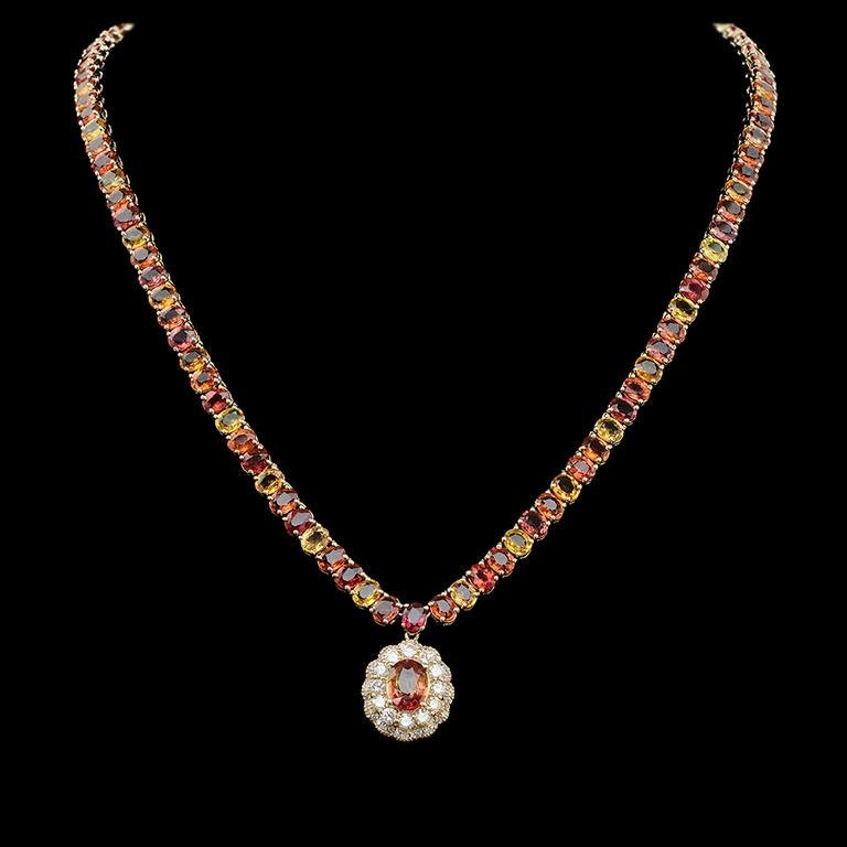 14K Gold 45.40ct Multi-Color Sapphire 1.45ct Diamond