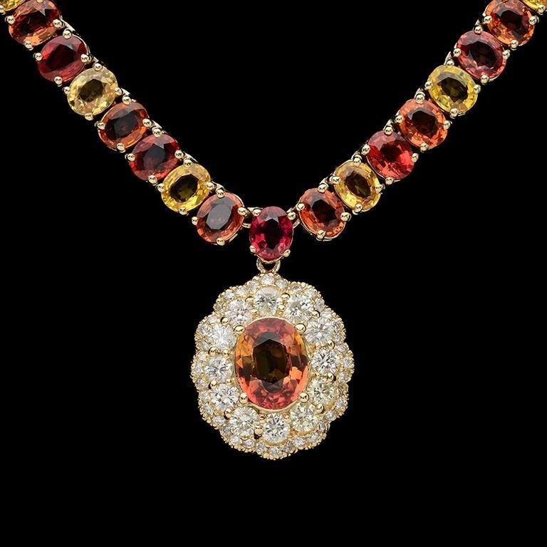 14K Gold 45.40ct Multi-Color Sapphire 1.45ct Diamond - 2