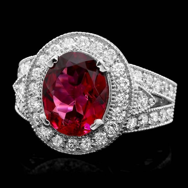 14k Gold 3.20ct Tourmaline 1.35ct Diamond Ring