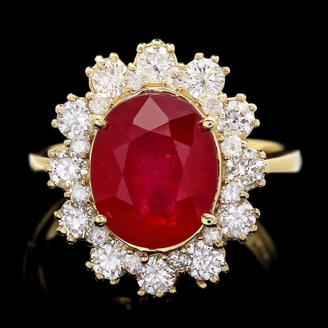 14k Yellow Gold 5.50ct Ruby 1.30ct Diamond Ring
