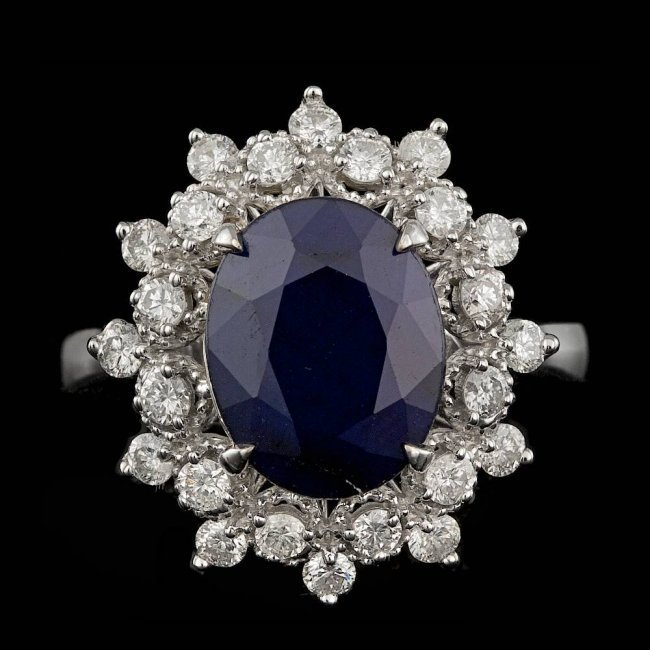 14k Gold 3.50ct Sapphire 0.70ct Diamond Ring