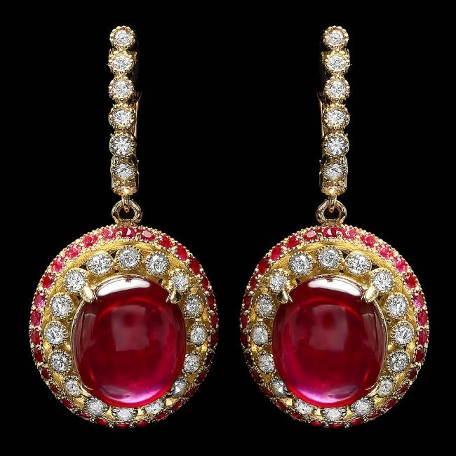 14k Gold 22.3ct Ruby 1.20ct Diamond Earrings