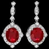 14k Gold 2170ct Ruby 175ct Diamond Earrings
