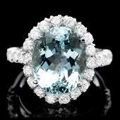 14k Gold 750ct Aquamarine 155ct Diamond Ring