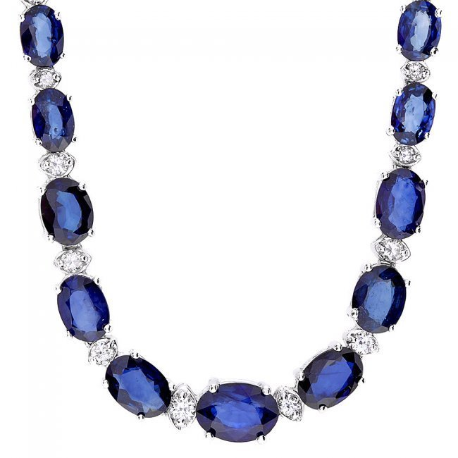 14k Gold 30ct Sapphire 1.20ct Diamond Necklace - 2