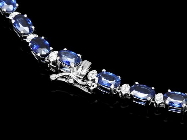 14k Gold 30ct Sapphire 1.20ct Diamond Necklace - 4