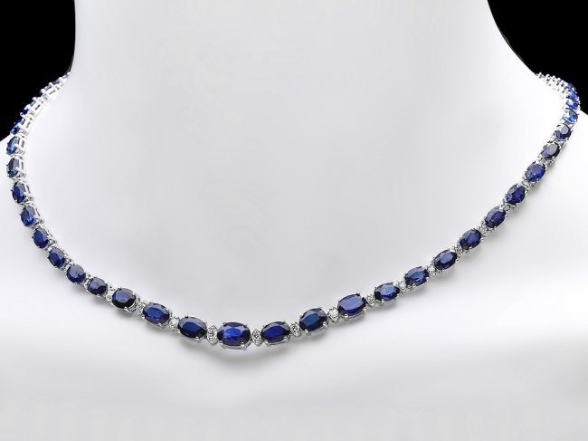 14k Gold 30ct Sapphire 1.20ct Diamond Necklace - 6