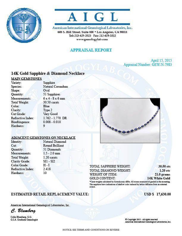 14k Gold 30ct Sapphire 1.20ct Diamond Necklace - 7