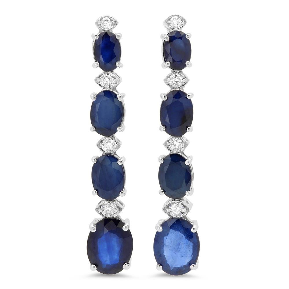 14K Gold 9.00ct Sapphire 0.36cts Diamond Earrings