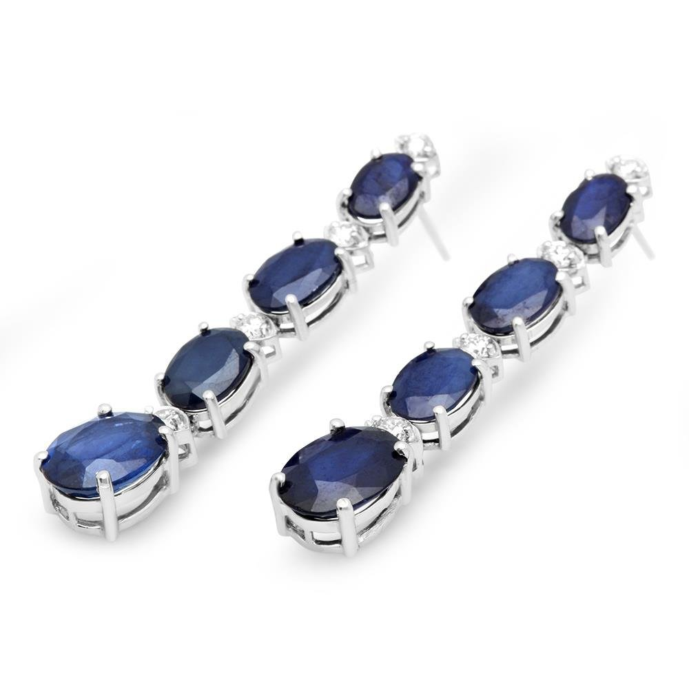 14K Gold 9.00ct Sapphire 0.36cts Diamond Earrings - 2