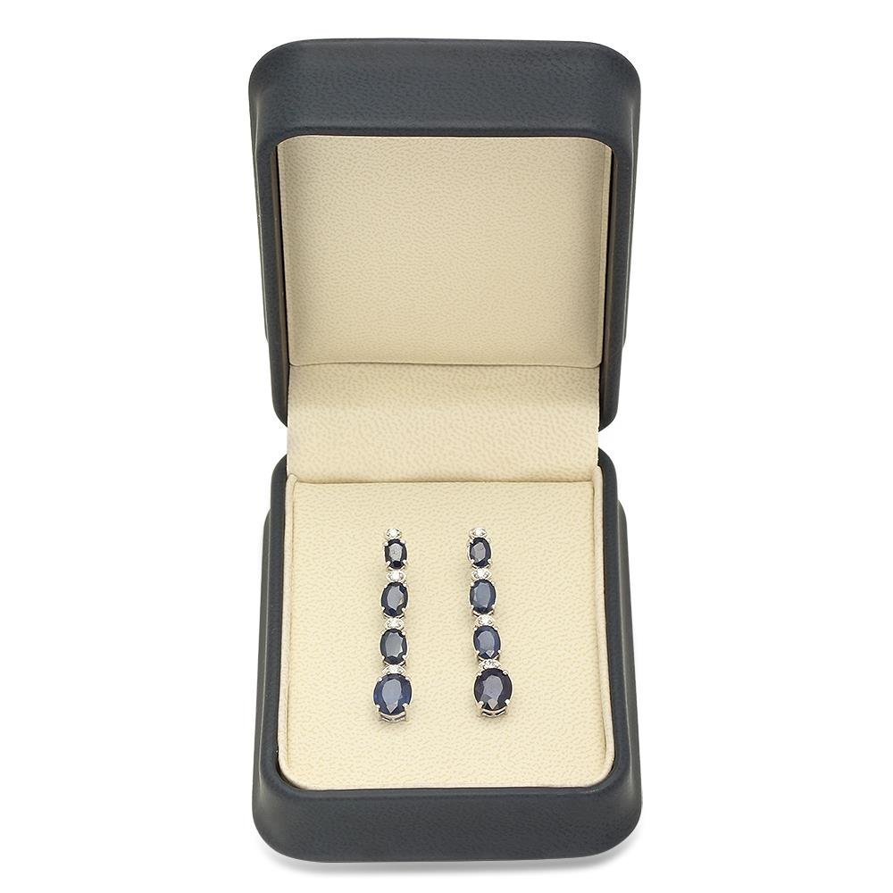 14K Gold 9.00ct Sapphire 0.36cts Diamond Earrings - 3