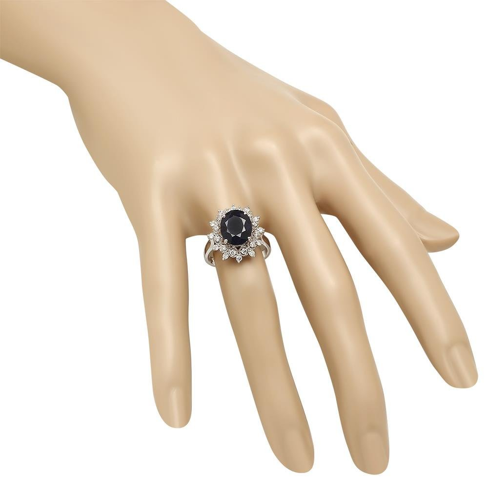 14K Gold 4.35ct Sapphire 0.48ct Diamond Ring - 3