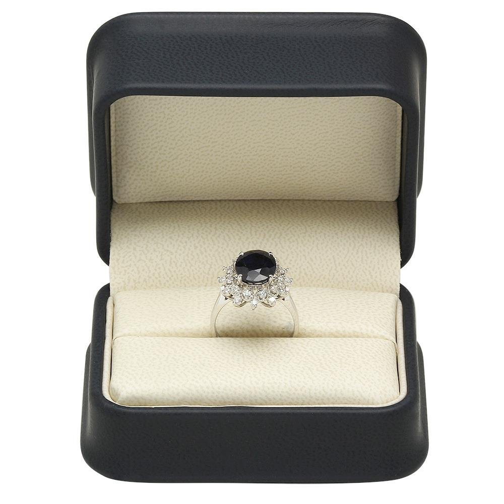 14K Gold 4.35ct Sapphire 0.48ct Diamond Ring - 4