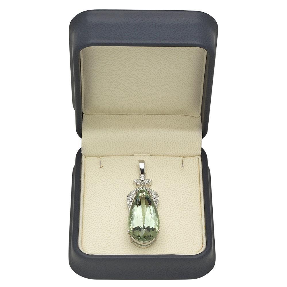 14K Gold 28.57ct Amethyst 0.38ct Diamond Pendant - 3