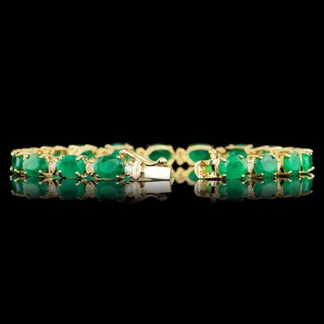 14k Gold 14.00ct Emerald 1.00ct Diamond Bracelet - 2