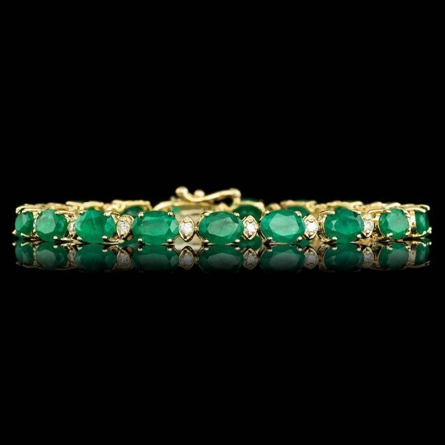 14k Gold 14.00ct Emerald 1.00ct Diamond Bracelet - 3