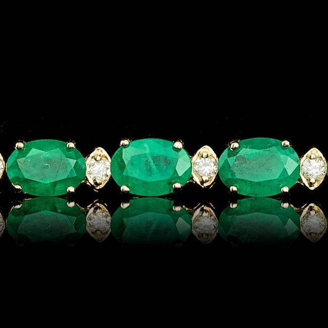 14k Gold 14.00ct Emerald 1.00ct Diamond Bracelet - 4