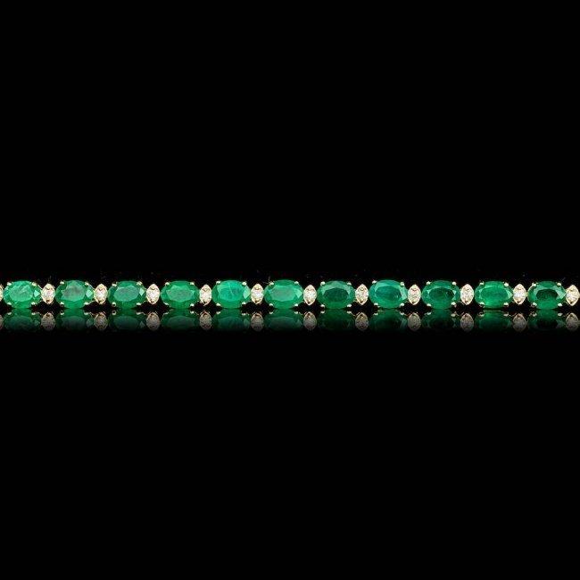 14k Gold 14.00ct Emerald 1.00ct Diamond Bracelet - 5