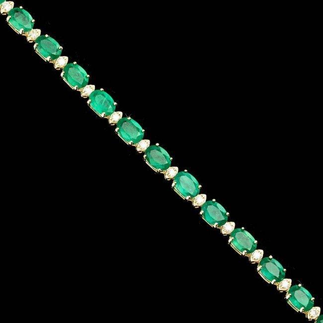 14k Gold 14.00ct Emerald 1.00ct Diamond Bracelet - 6