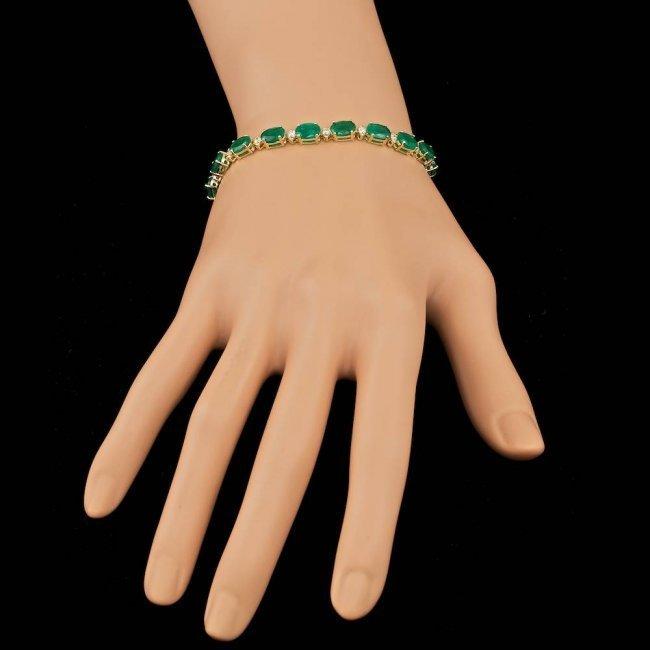 14k Gold 14.00ct Emerald 1.00ct Diamond Bracelet - 7