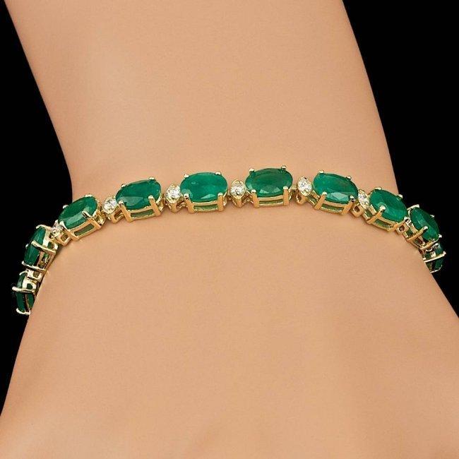 14k Gold 14.00ct Emerald 1.00ct Diamond Bracelet - 8