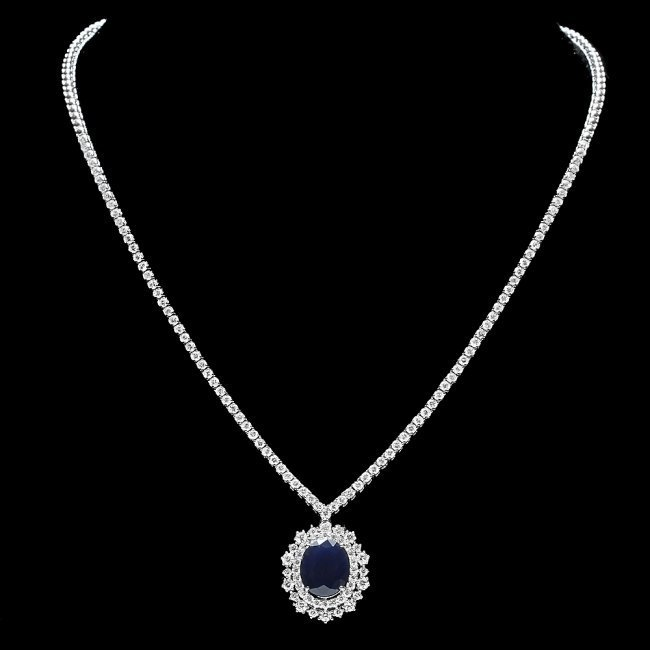 18k Gold 6ct Sapphire 5.00ct Diamond Necklace