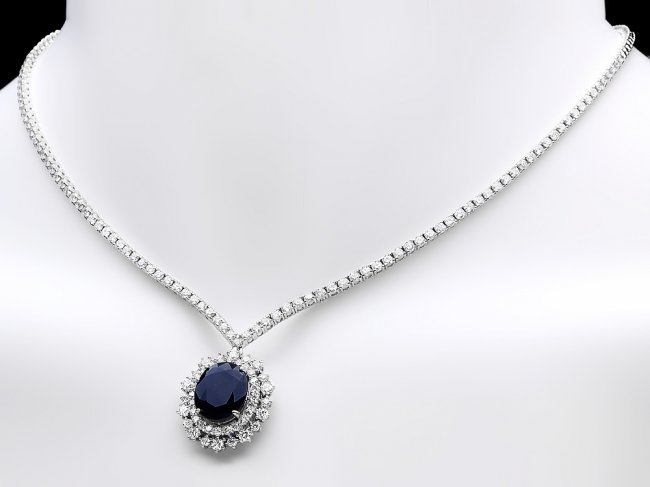 18k Gold 6ct Sapphire 5.00ct Diamond Necklace - 2