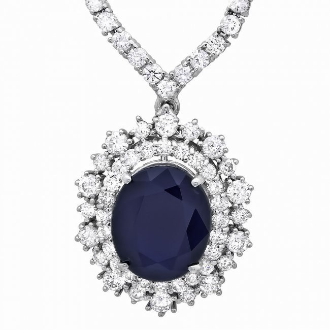 18k Gold 6ct Sapphire 5.00ct Diamond Necklace - 3