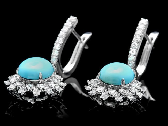 14k Gold 4.00ct Turquoise 1.70ct Diamond Earrings - 3