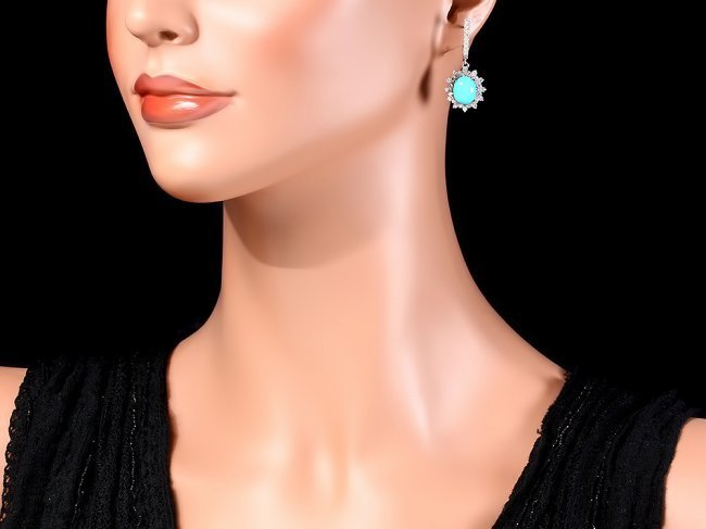 14k Gold 4.00ct Turquoise 1.70ct Diamond Earrings - 4
