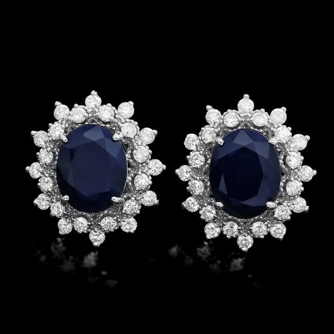 14k Gold 6ct Sapphire 1.25ct Diamond Earrings