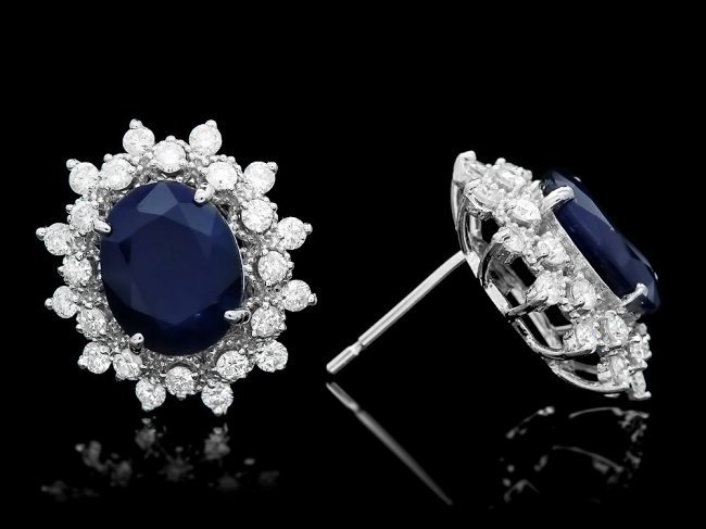 14k Gold 6ct Sapphire 1.25ct Diamond Earrings - 3