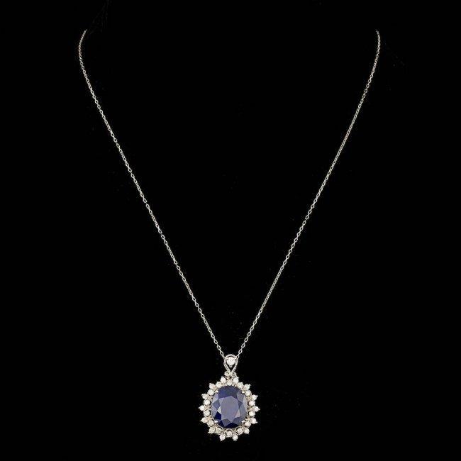 14k Gold 10.00ct Sapphire 0.80ct Diamond Pendant - 2