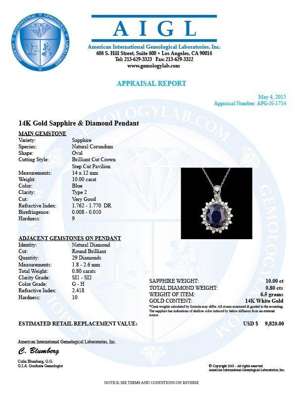 14k Gold 10.00ct Sapphire 0.80ct Diamond Pendant - 5