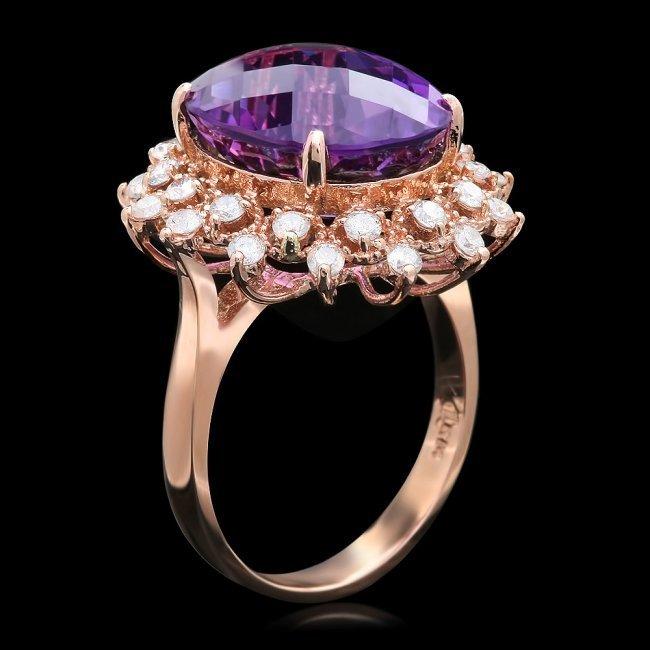 14k Rose Gold 8.50ct Amethyst 1.00ct Diamond Ring - 2